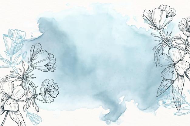 Pastello in polvere blu con sfondo di fiori disegnati a mano Vettore gratuito