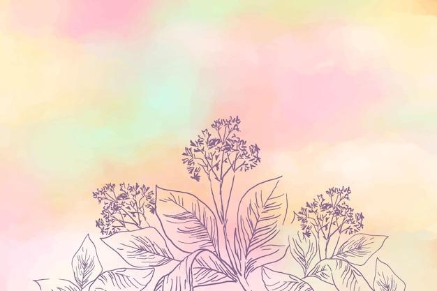 Pastello in polvere con sfondo di elementi Vettore gratuito