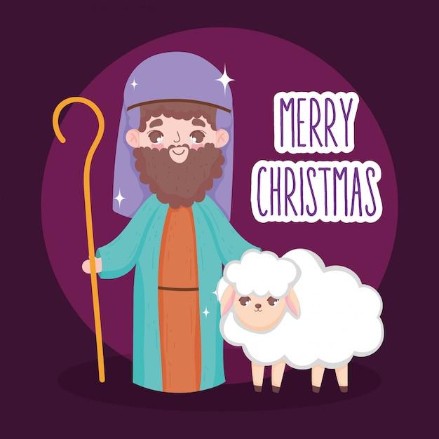 Pastore con presepe di pecora, buon natale Vettore Premium