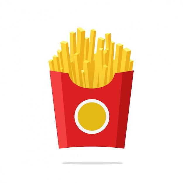 Patate fritte o patate fritte nel fumetto piano dell'illustrazione di vettore della scatola di carta Vettore Premium