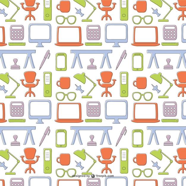Pattern con oggetti colorati per ufficio scaricare for Oggetti per ufficio