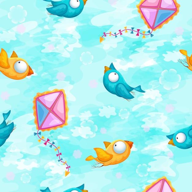 Pattern con uccelli divertenti e un aquilone su uno sfondo di cielo azzurro. Vettore Premium