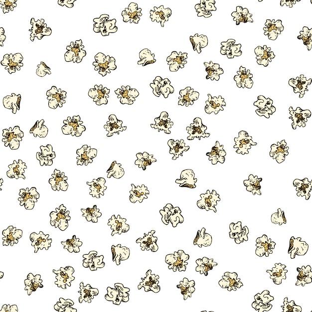 Pattern di mais pop senza soluzione di continuità. fondo disegnato a mano del popcorn. Vettore Premium