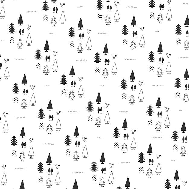 Pattern di sfondo con albero di natale Vettore Premium