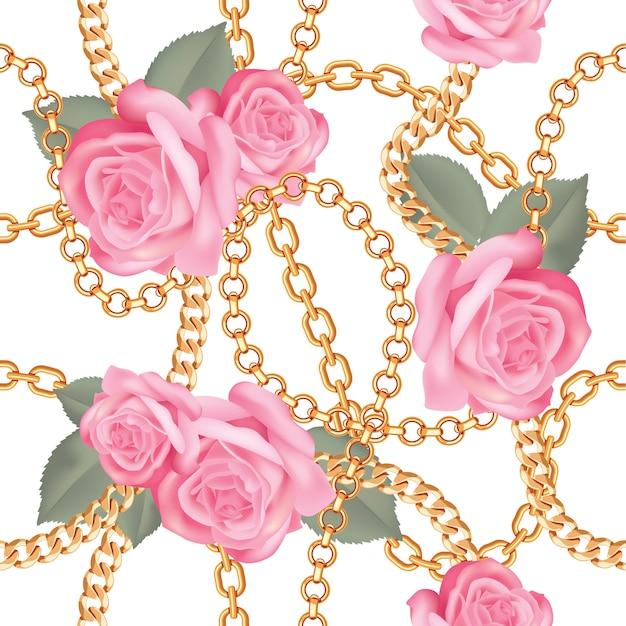 Pattern di sfondo con catene d'oro Vettore Premium