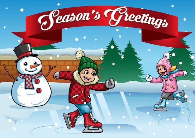 Pattinaggio su ghiaccio per bambini con pupazzo di neve Vettore Premium