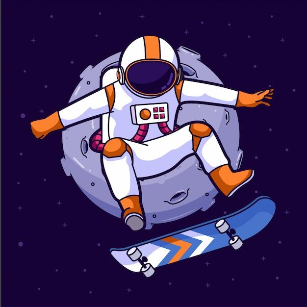 Pattinatore astronauta nello spazio Vettore Premium
