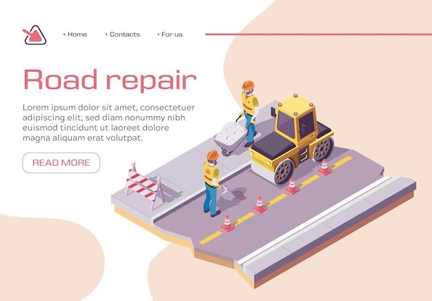 Pavimentazione stradale e asfaltata. macchinario pesante dell'asfaltatura Vettore Premium