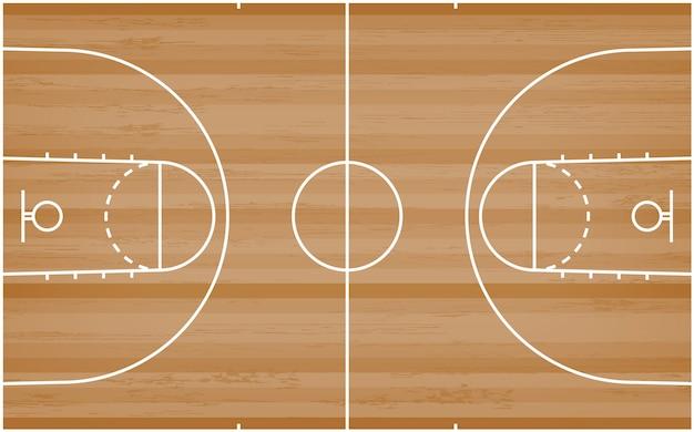 Pavimento del campo da pallacanestro con la linea modello su fondo di legno. Vettore Premium