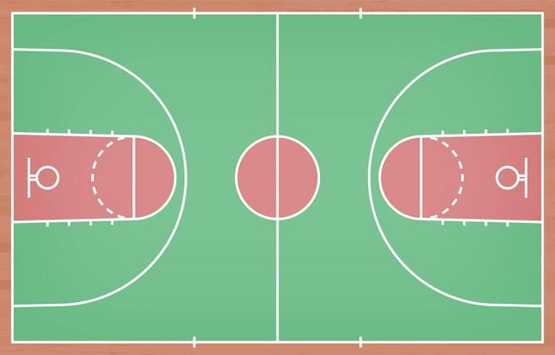 Pavimento del campo da pallacanestro con la linea sul fondo di legno di struttura Vettore Premium