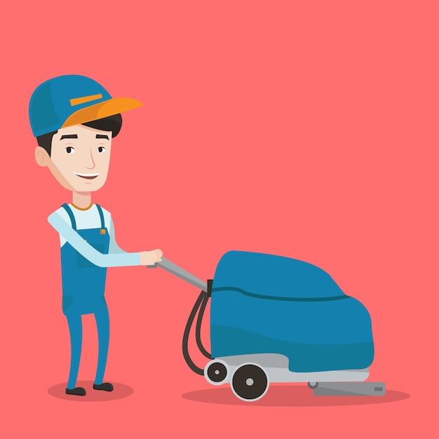Pavimento del deposito di pulizia del lavoratore maschio con la macchina. Vettore Premium