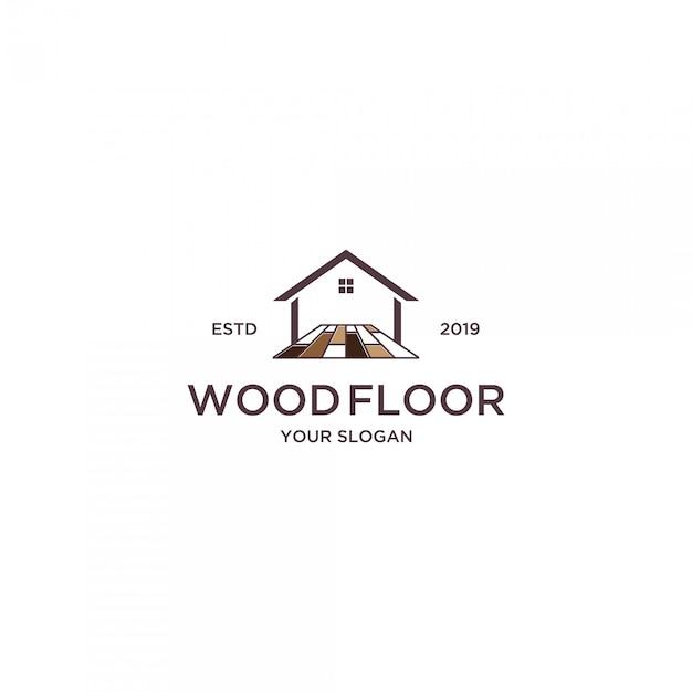 Pavimento in legno per il logo di casa Vettore Premium