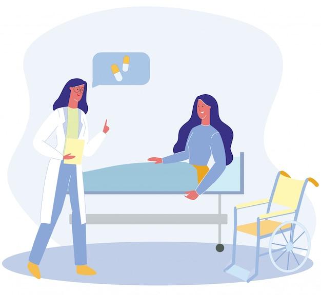 Paziente del dottore therapist talk to disabled woman Vettore Premium