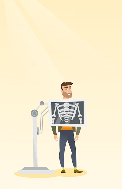 Paziente durante l'illustrazione di vettore di procedura dei raggi x Vettore Premium