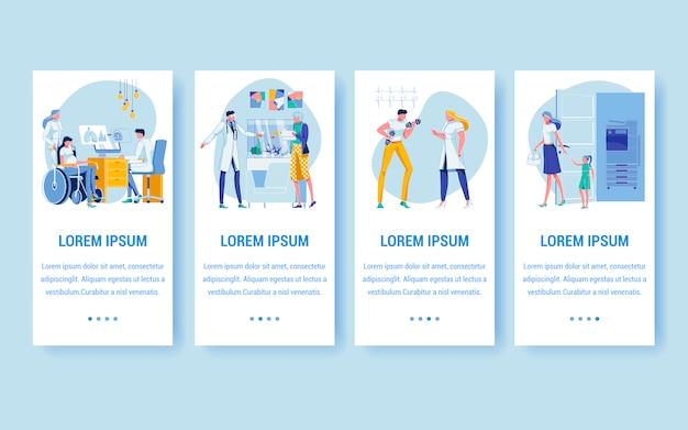Pazienti che visitano medici in ospedale o in clinica. Vettore Premium