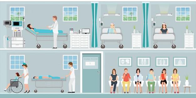 Pazienti e dottori in ospedale. Vettore Premium