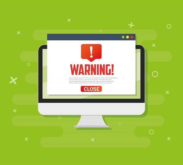 Pc avviso notifica concetto avviso, spam, virus, errori di internet, trojan Vettore Premium