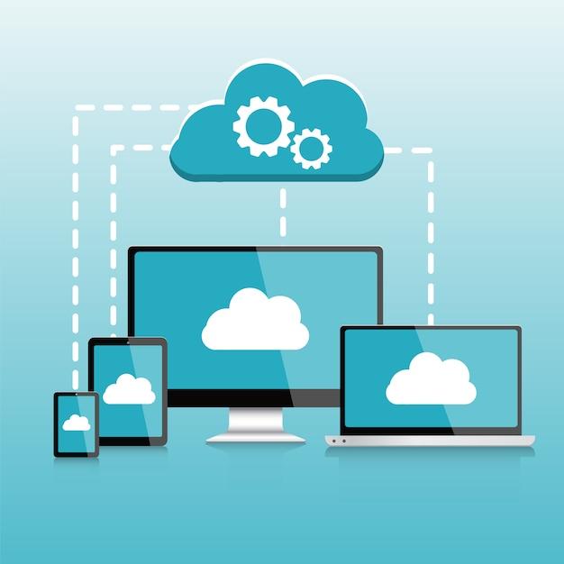 Pc reattivo. computer. il infographics dei dispositivi mobili, elementi di calcolo della nuvola vector l'illustrazione Vettore Premium