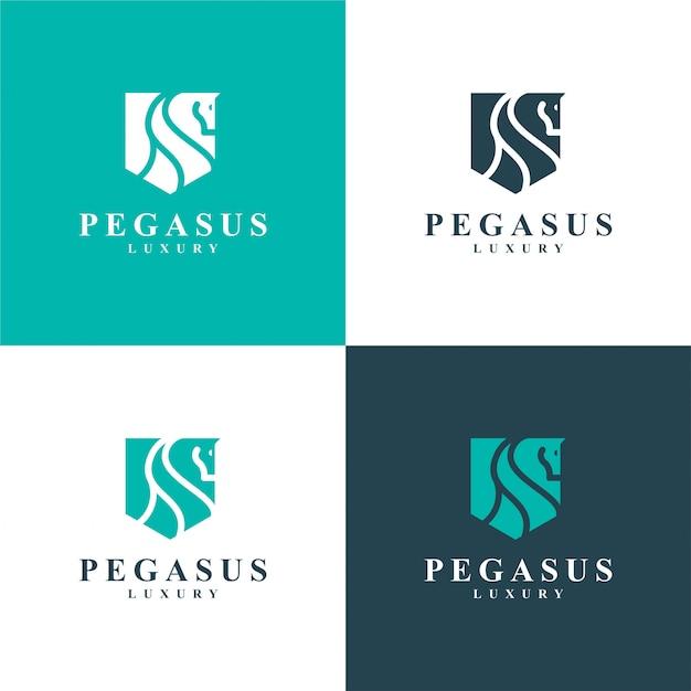 Pegaso di lusso. logo cavallo minimalista Vettore Premium