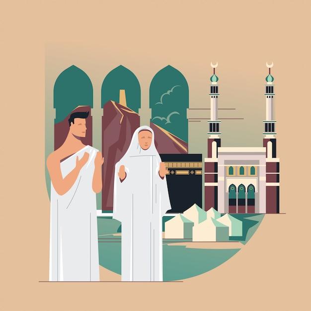 Pellegrinaggio musulmano che prega dio con kaaba, masjid al-haram Vettore Premium
