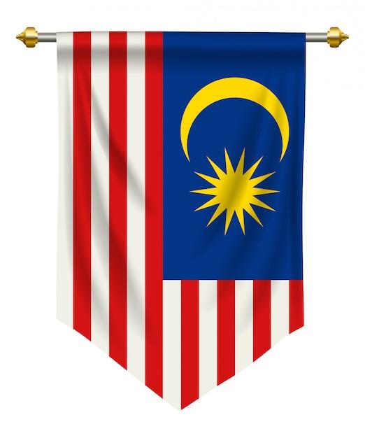 Pennant della malesia Vettore Premium