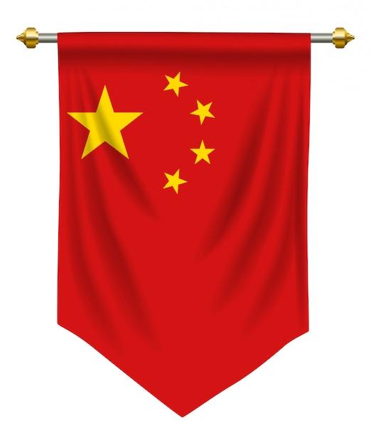Pennant della repubblica popolare cinese Vettore Premium
