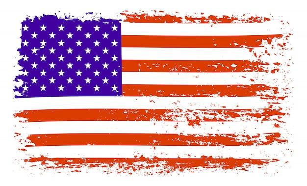 Pennellata bandiera usa Vettore Premium