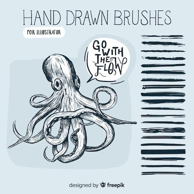 Pennelli disegnati a mano Vettore gratuito
