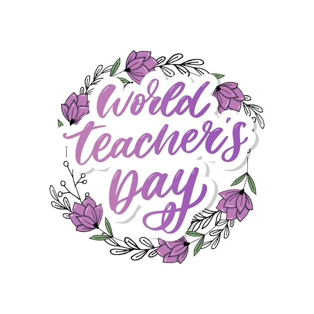 Pennello per calligrafia lettering giornata mondiale dell'insegnante Vettore Premium
