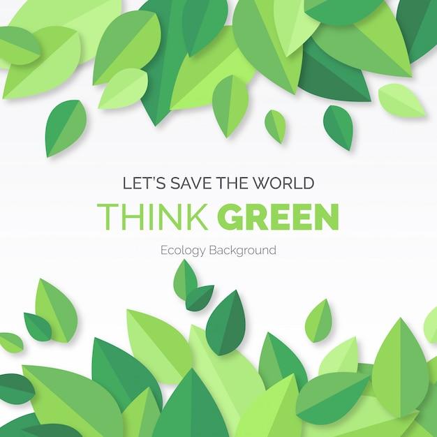 Pensa a sfondo verde moderno con foglie Vettore gratuito