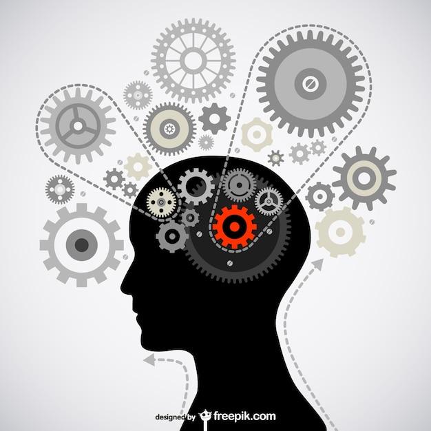Pensando cervello immagine materiale vettore Vettore gratuito