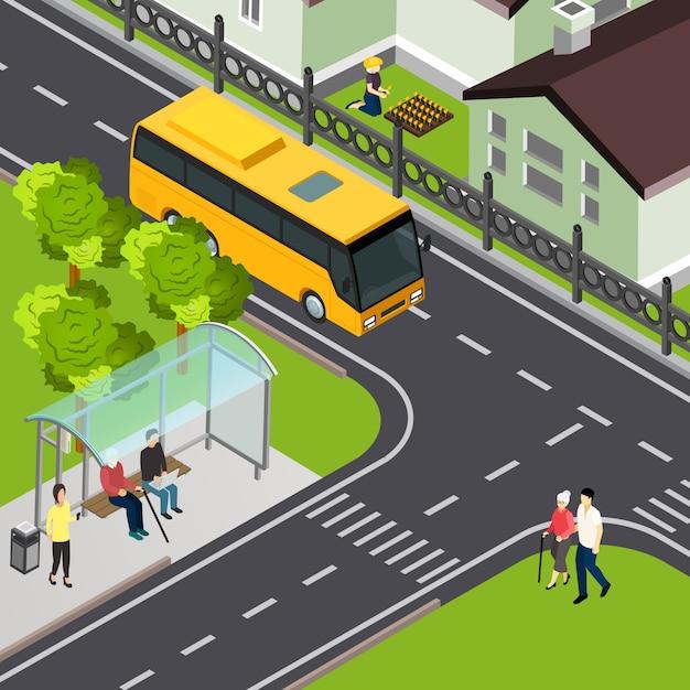 Pensionato che aspetta trasporto pubblico e signora anziana con l'addetto che arriva all'illustrazione isometrica di vettore di attraversamento Vettore gratuito