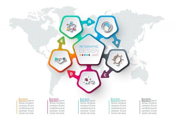 Pentagoni etichetta infografica Vettore Premium