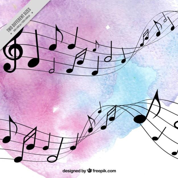pentagramma con note musicali sfondo acquerello vector musical notes vector music notes png