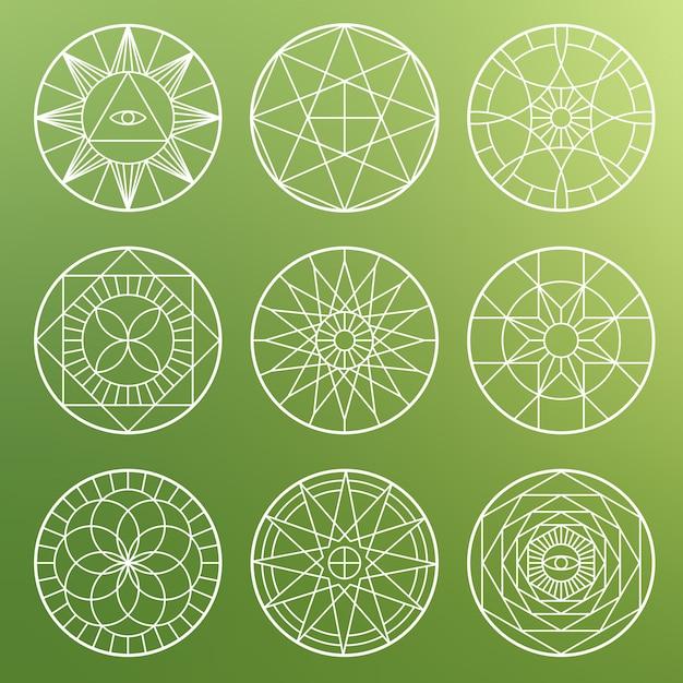 Pentagrammi geometrici esoterici bianchi. simboli mistici sacri spirituali Vettore Premium