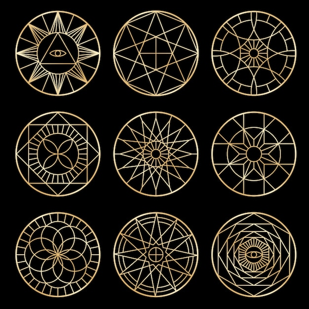 Pentagrammi geometrici esoterici. simboli mistici sacri spirituali Vettore Premium
