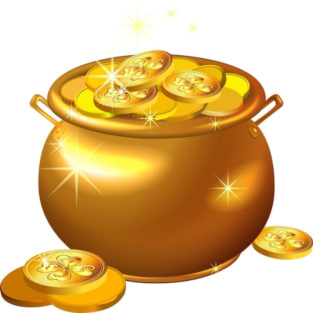 Pentola d'oro di giorno di san patrizio con monete Vettore Premium
