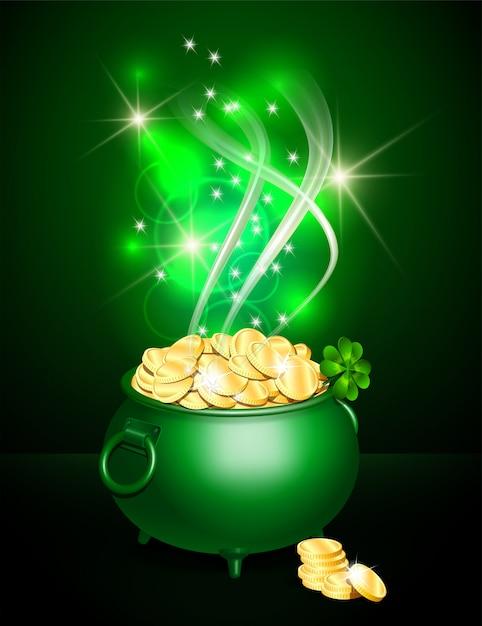 Pentola verde simbolo del giorno di san patrizio Vettore Premium