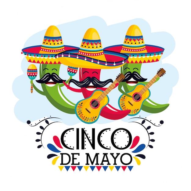 Peperoncino che indossa cappello messicano con maracas e chitarre Vettore Premium