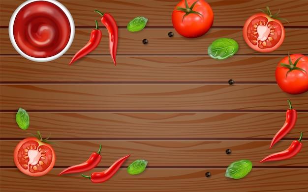 Peperoncino e pomodoro sulla tavola di legno Vettore Premium