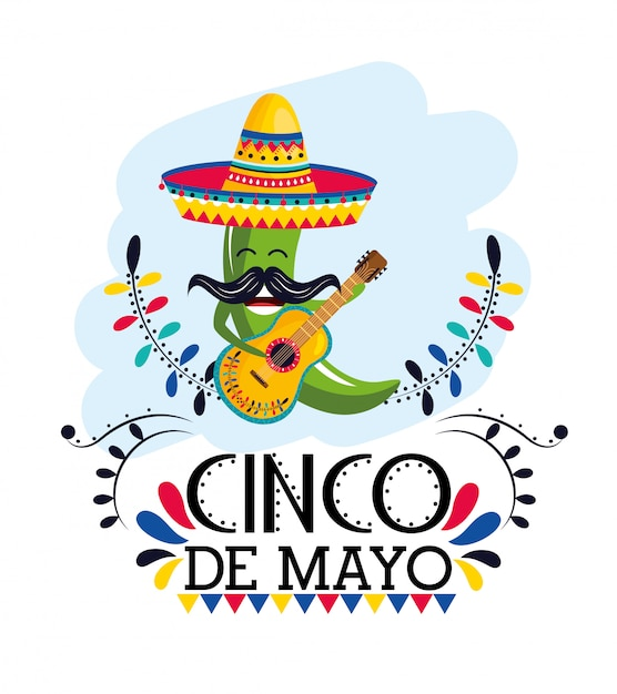 Peperoncino verde con cappello e chitarra all'evento messicano Vettore Premium