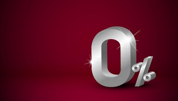 Percentuale zero del metallo d'argento su fondo rosso Vettore Premium