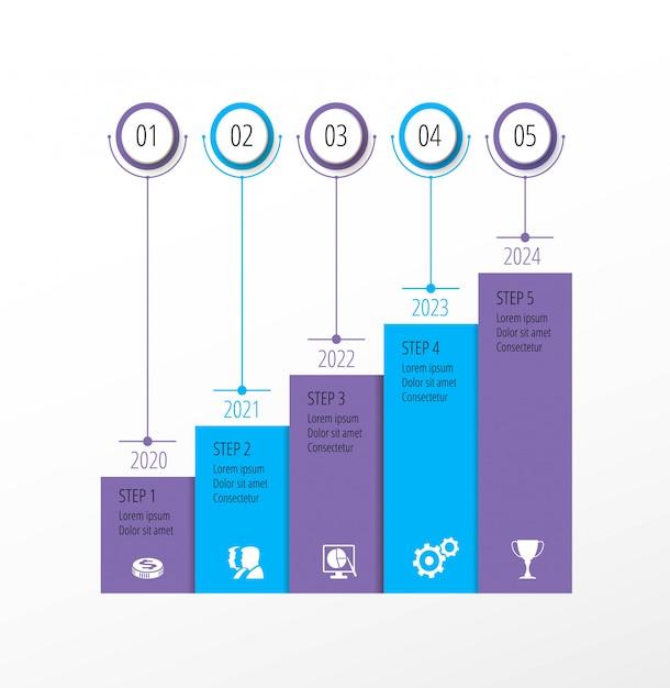 Percorso di viaggio aziendale. infografica con passaggi. sviluppo del percorso aziendale Vettore Premium