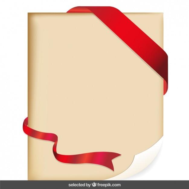 Pergamena Con Il Nastro Rosso Scaricare Vettori Gratis