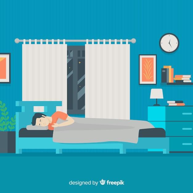 Persona che dorme sullo sfondo del letto Vettore gratuito