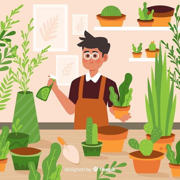 Persona che si prende cura delle piante Vettore gratuito