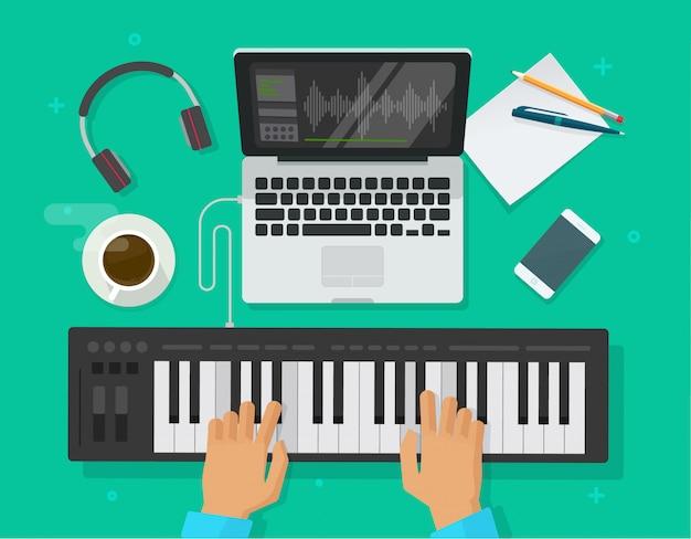 Persona che suona la tastiera del pianoforte midi Vettore Premium
