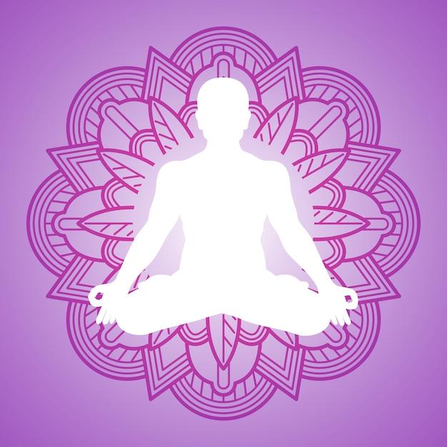 Persona di meditazione sulla cornice di mandala fiore. logo design yoga Vettore Premium