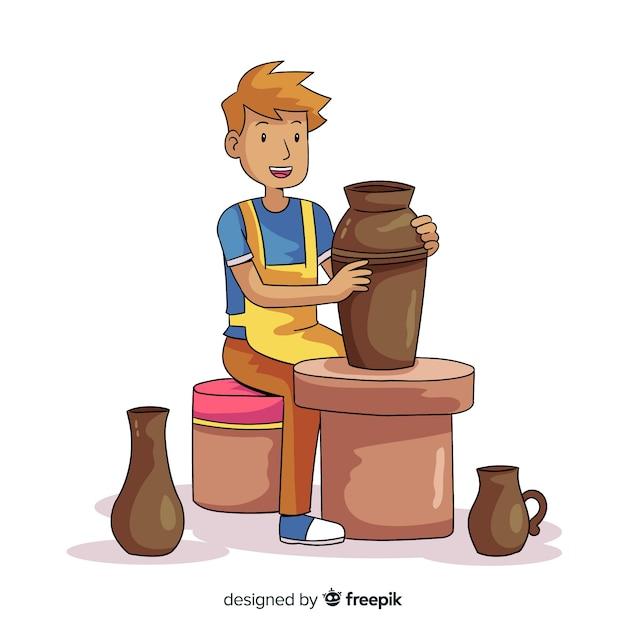 Persona disegnata a mano facendo ceramiche Vettore gratuito
