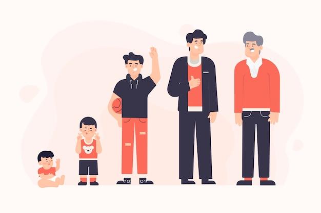 Persona in diverse età tema per l'illustrazione Vettore gratuito